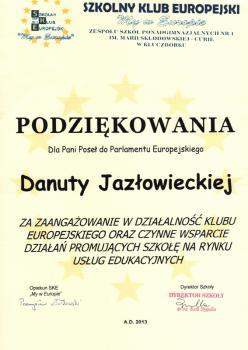 """Szkolny Klub Europejski """"My w Europie"""" w ZSP nr 1 w Kluczborku"""